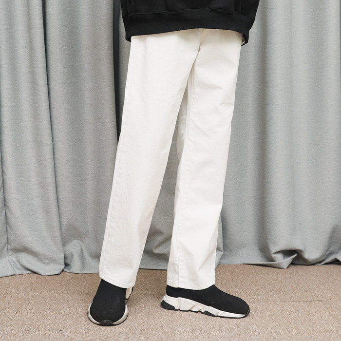 LamodeChiefSTRAIGHT WIDE WHITE JEANS (WHITE)