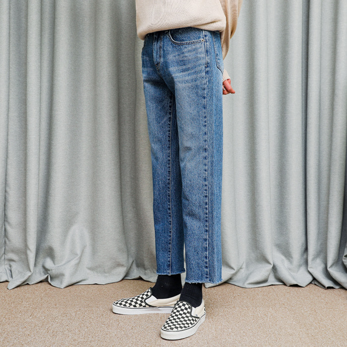 LamodeChiefCUTTING CROP STRAIGHT JEANS (BLUE)