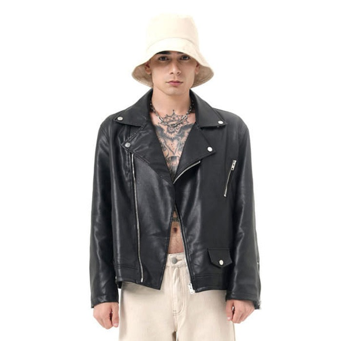 LamodeChief[SET] Leather biker jacket (Black)